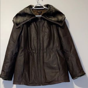 Danier brown leather jacket with faux fur, Large